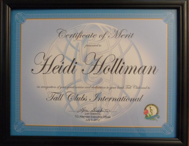 Merit Award for Heidi at TCI Convention 2012